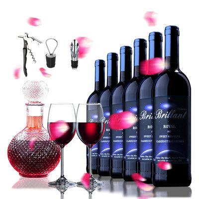 买一箱送酒具法国红酒原酒进口波尔多半甜红葡萄酒6支瓶整箱装