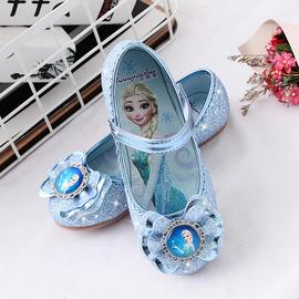 女童公主鞋小女孩皮鞋爱莎女宝宝浅口冰雪奇缘软底艾莎儿童水晶鞋图片