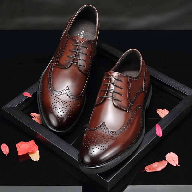 卡丹路男鞋布洛克雕花皮鞋男商务正装鞋英伦真皮秋冬季男士鞋子