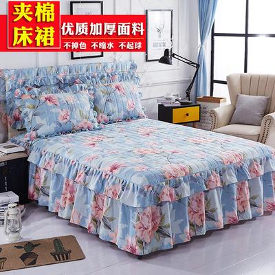 夹棉床裙加厚床罩床盖单件韩版公主床套防滑席梦思床罩1.5/1.8米正品折扣