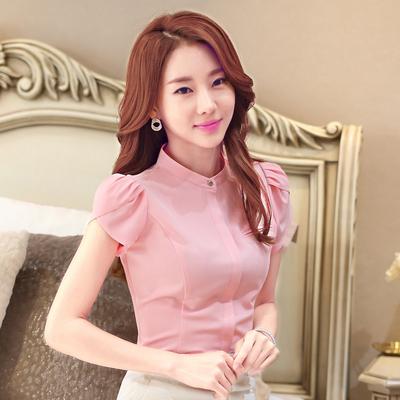 职业装衬衫女短袖韩范夏款OL白色圆领修身雪纺衫百搭女衬衣工作服