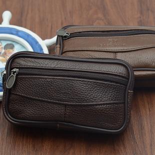 秒杀真皮中年手机包男士穿皮带腰包5寸6寸钱包牛皮多功能腰带挂包