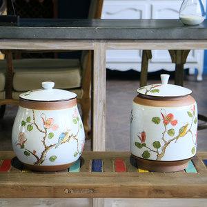 【几何空间】新中式古典花鸟陶瓷储物罐 家居装饰品罐子摆件摆设