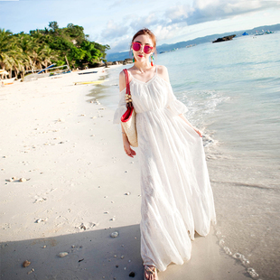 沙滩裙女夏2018新款吊带长裙波西米亚连衣裙显瘦海边度假海滩裙仙
