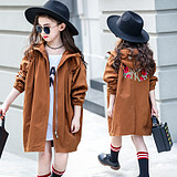 Kids girl spring coat foreign air long Korean version of the children khaki color coat army green girl windbreaker tide