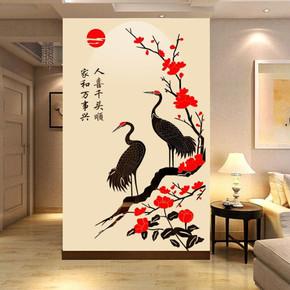仙鹤水晶亚克力3d立体墙贴画创意餐客厅沙发电视背景墙家居装饰品