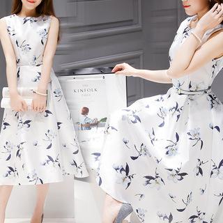 2018欧洲站夏装新款女装韩版印花中长款无袖连衣裙收腰显瘦A字裙