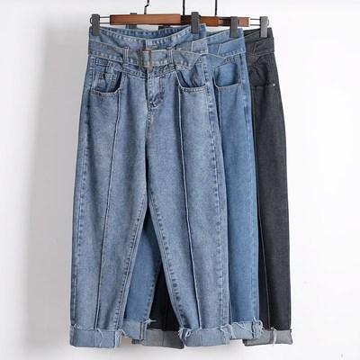牛仔裤女花苞宽松高腰直筒秋季复古2018新款冬季加绒萝卜老爹长裤