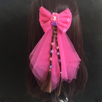 女童时尚大网纱蝴蝶结边夹发夹马尾夹公主配饰儿童舞蹈发卡发饰品