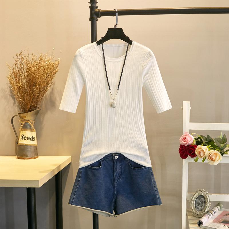 夏季冰丝半袖针织衫女T恤打底中袖韩版短款修身短袖圆领上衣薄款