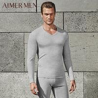 爱慕先生品牌秋冬柔软棉质单层薄款V领男士贴身暖衣秋衣72L41