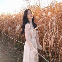 2018秋冬桔梗复古法式超仙气质温柔风打底蕾丝网纱连衣裙初恋少女