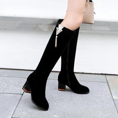 2018秋冬季新款金丝绒女士高跟女靴中靴女高筒靴女长靴子粗跟女鞋