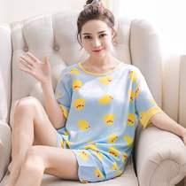 怡伴韩版夏季薄绵绸女士短袖睡衣人造棉家居服套装棉绸加大码