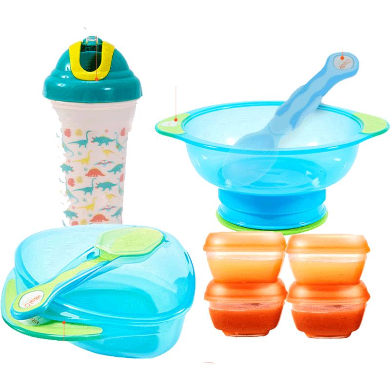 韦特儿婴儿碗勺套装辅食碗六个月宝宝辅食盒餐具吸盘碗水杯