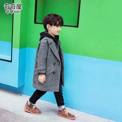 儿童毛呢子大衣中大童2018冬装新款韩版男童格子加厚中长款外套潮