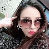 2018新款墨镜女复古大框镂空网红太阳镜圆脸时尚尼龙镜片太阳眼镜