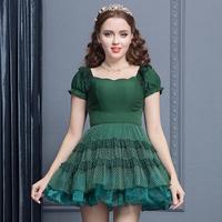 花儿开了绿色修身蓬蓬短袖连衣裙 露肩拼接欧根纱蛋糕连衣裙女