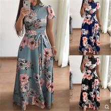 Women summer printed lace up long dress ladies clothing 女裙
