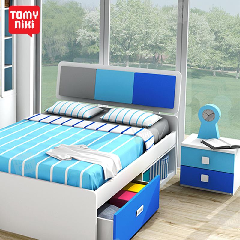汤米妮琪 青少年卧室家具组合多功能储物床1.2M小孩单人床男孩