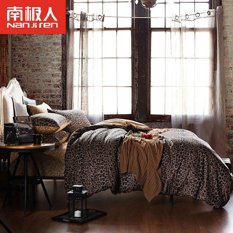 南极人欢乐颂同款豹纹全棉四件套斜纹纯棉床上用品4件套床单被套