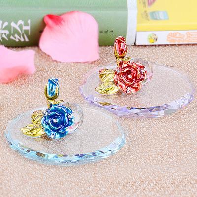 创意水晶玻璃盖珐琅彩杯盖水杯盖子创意玫瑰定制保温防尘通用杯盖
