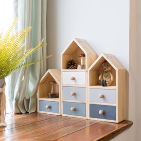 阿楹 飘窗置物架zakka桌上收纳抽屉 实木制ins多层办公桌面收纳盒