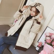 五季家大码女装胖mm秋冬装小个子短款显瘦洋气连帽假两件棉服外套