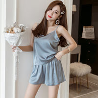 Five seasons large size women's 2019 spring new two-piece shorts suit fat sister mm home service pajamas women