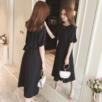 五季家大码胖mm长裙女夏2018新款小黑裙腰粗遮肚子洋气减龄连衣裙