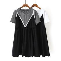 大码女装夏季新款裙子200斤胖MM修身假两件拼接短袖连衣裙娃娃裙