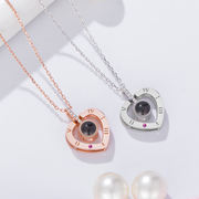 Sterling silver necklace vibrating the same paragraph net red love memory silver jewelry female pendant lettering 100 kinds I love you clavicle chain