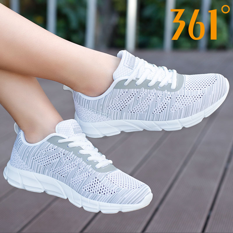361度女鞋跑步鞋2019夏季新款361透氣學生跑鞋休閑旅游運動鞋女