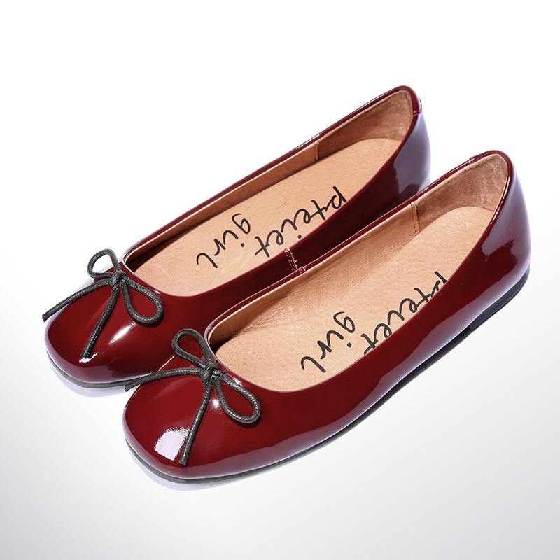 单鞋真皮复古漆皮