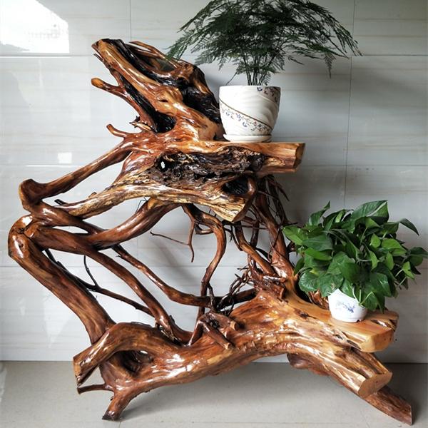 仿古中式古典多层原木随型花架香樟实木根雕落地式摆件原生态树根