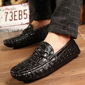 鳄鱼纹男皮鞋商务高档ck黑色豆豆鞋板鞋防滑驾车鞋透气秋冬季大码