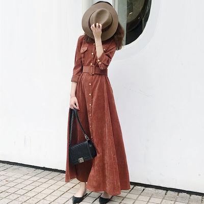 2018秋冬新款女复古灯芯绒连衣裙长袖粗腰遮肚子气质打底衬衫长裙
