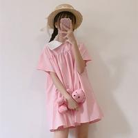 粉拼色连衣裙