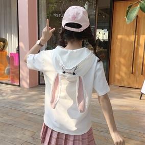 软萌妹子夏装可爱卡通兔耳朵连帽宽松短袖薄卫衣女学生百搭T恤潮