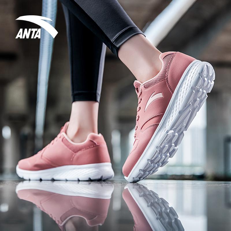 安踏跑步鞋女鞋夏季网面学生轻便运动鞋官网透气60th纪念款休闲鞋