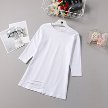 Medium and long cotton hollow white T-shirt for girls