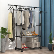Drying rack floor folding double pole single pole clothes pole indoor drying rack bedroom cool hanger hanging clothes rack