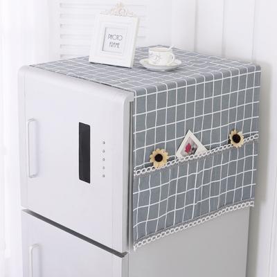 格子布艺单开门冰箱防尘罩全棉厚冰箱巾双开门冰箱盖布简约冰箱罩什么牌子好