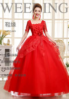 2017 new bride pregnant women expectant mother red and white wedding dress bandage large size was thin short sleeve slim lace skirt