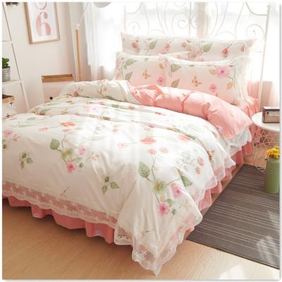 纯棉韩版全棉公主风田园碎花四件套蕾丝花边双人床裙1.8m床上用品