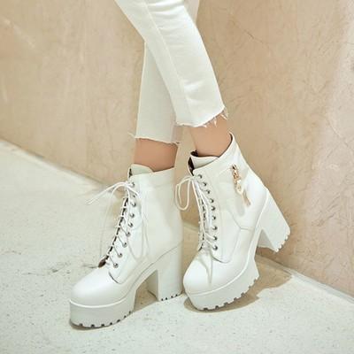 靴子马丁靴女鞋春秋冬短靴系带超高跟夜店粗跟英伦40白色41大码43