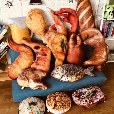 抖音热门同款创意仿真食物零食猪蹄抱枕靠垫毛绒玩具搞怪生日礼物