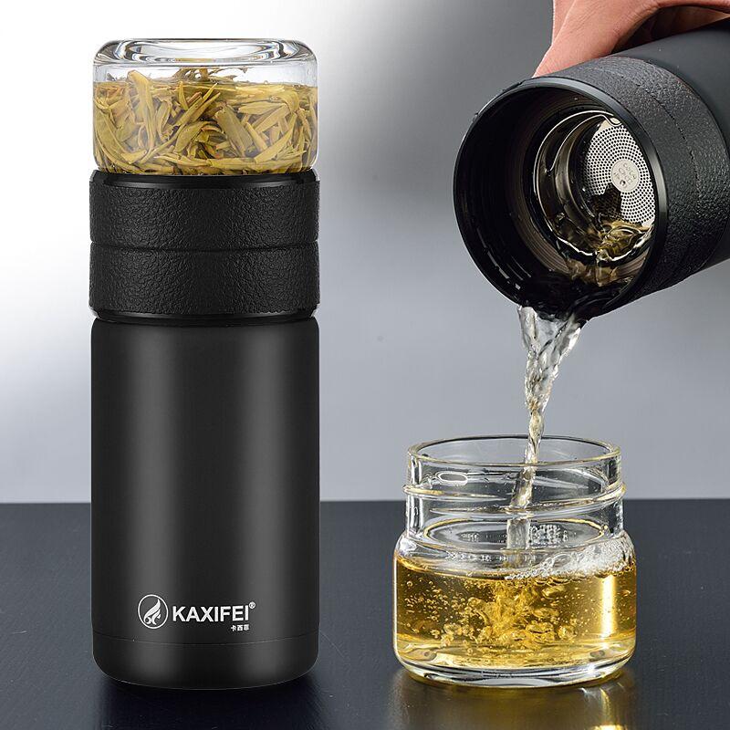 卡西菲茶水分离水杯不锈钢保温杯过滤茶杯男便携随手车载泡茶杯子