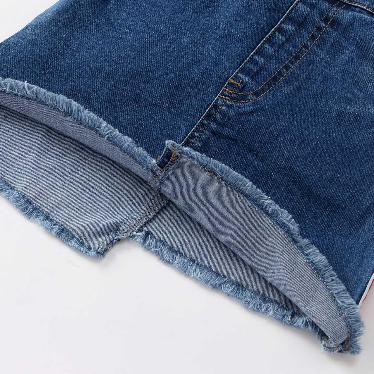 安奈儿童装女童短裙2018夏装新款不对称设计牛仔短裙EG833176