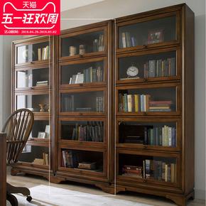 鑫富士实木书柜美式家用办公带门多层书架柜子收纳储物简约现代